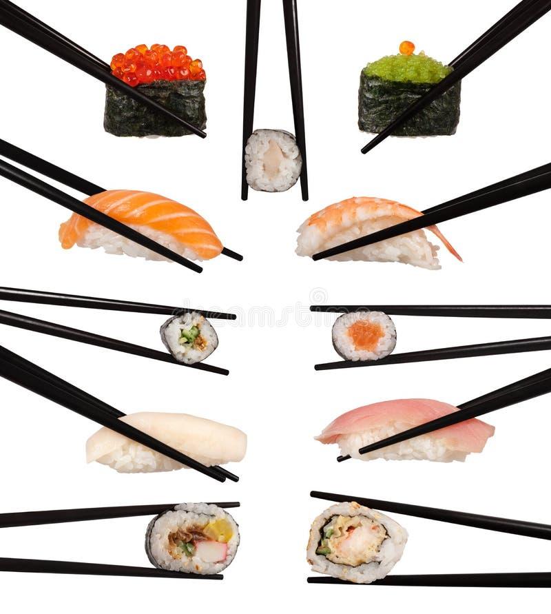 Diverse types van sushi stock foto's
