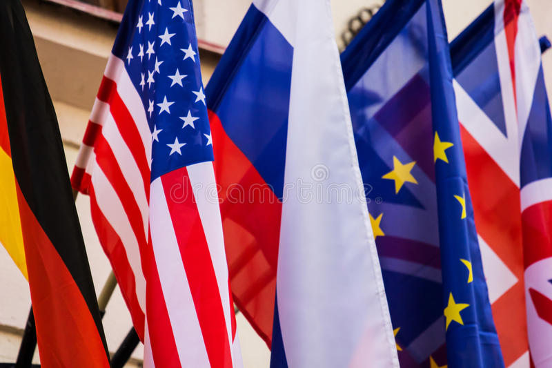 Diverse Vlaggen van Verschillende Staten stock afbeelding