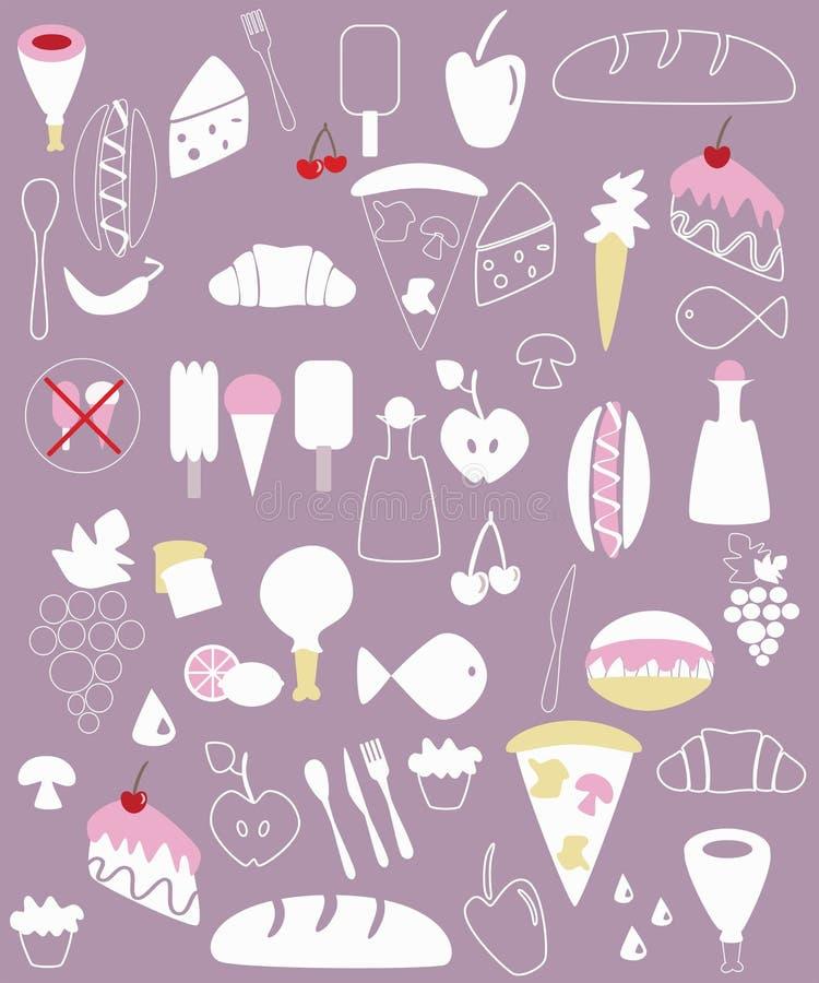 Diverse voedselillustraties stock illustratie