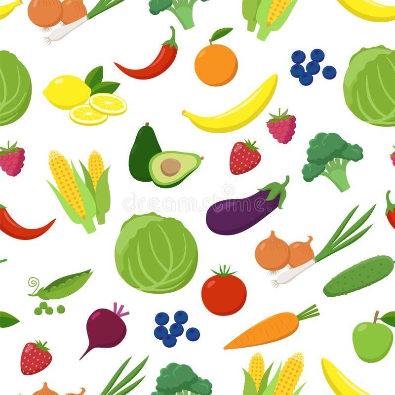 Diverse vruchten en groenten naadloos die patroon op witte achtergrond wordt geïsoleerd Vegetarisch vers voedsel in vlakke ontwer royalty-vrije illustratie