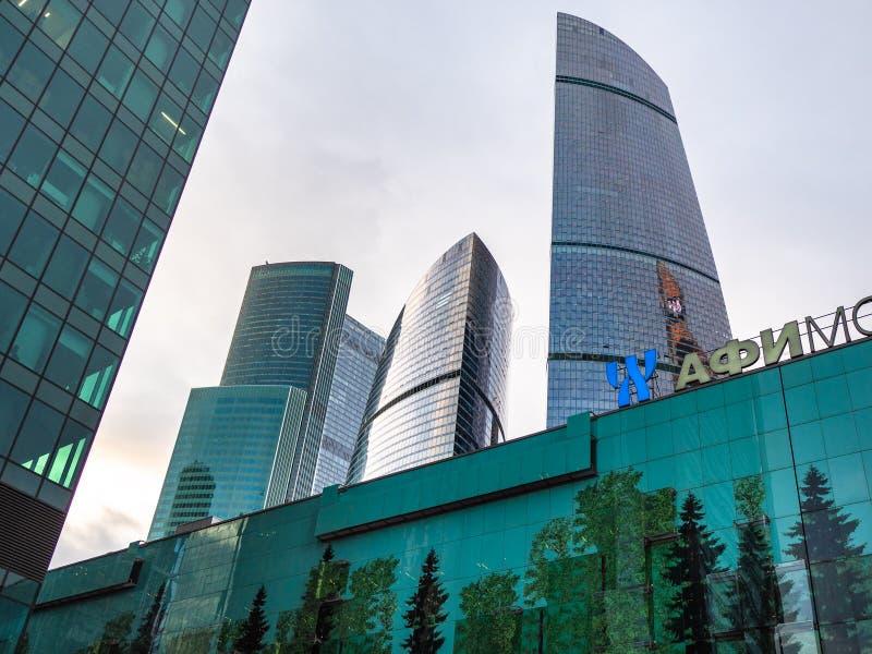 Diverse wolkenkrabbers in het Commerciële van Moskou Centrum stock fotografie