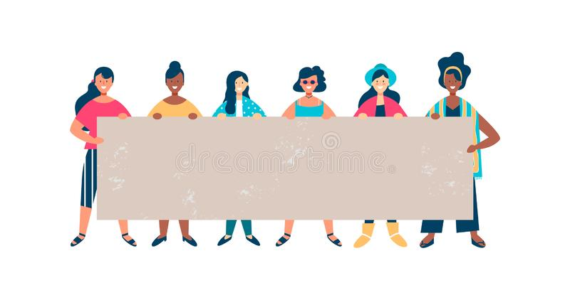 Diverse woman friend group holding empty banner stock illustration