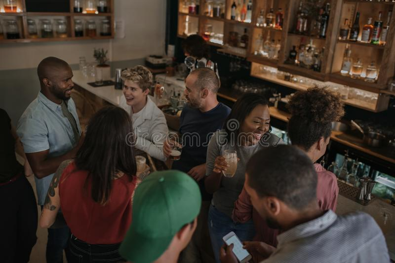 Diverse young friends talking over drinks in a bar stock photo