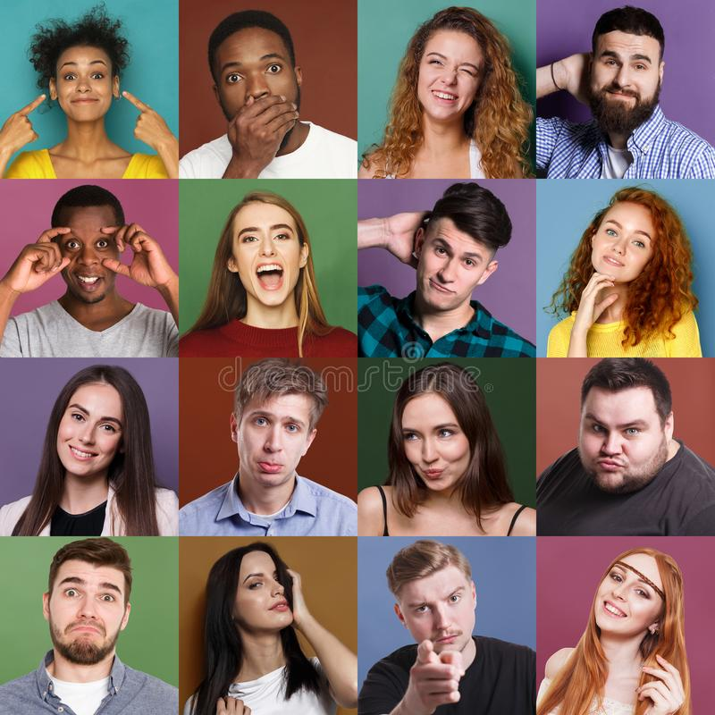 Diverse young people positive emotions set stock images