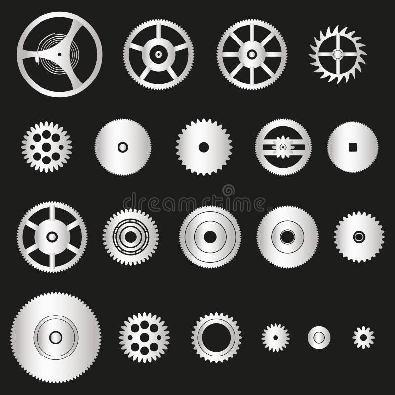 Diverse zilveren delen van metaaltandraderen van horlogebeweging eps10 vector illustratie