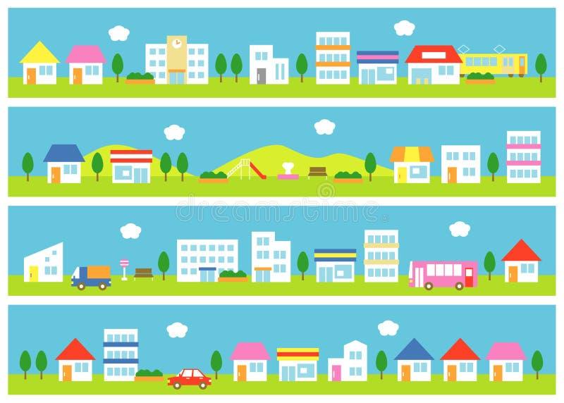 Diversehandel och hus på en gata vektor illustrationer