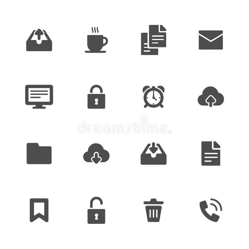Diversen en bedrijfsobjecten vlakke grijze pictogrammenreeks van 16 royalty-vrije illustratie