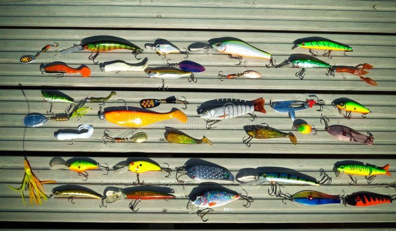 Diverses amorces pour les poissons prédateurs contagieux sur la rotation photos libres de droits