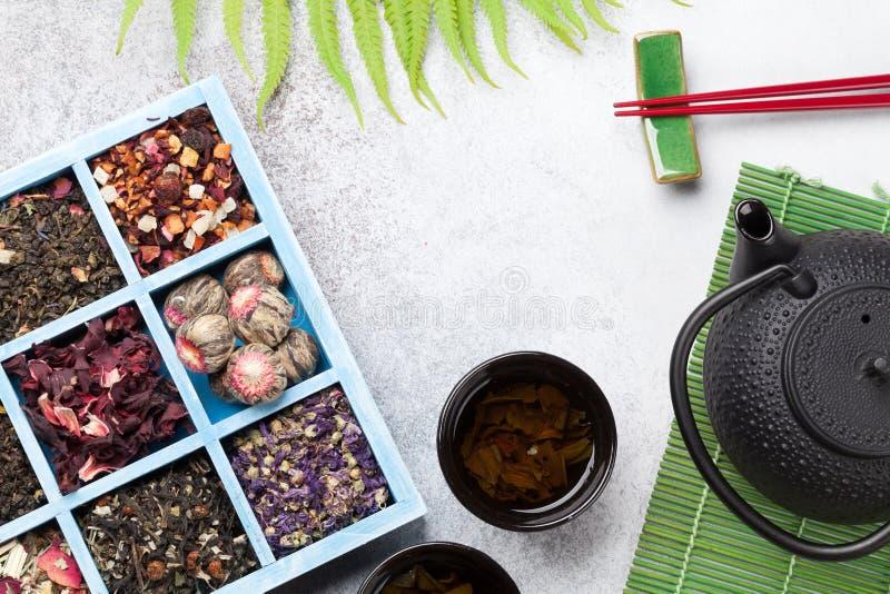 Diverses baguettes de thé, de théière et de sushi Ensemble japonais de repas image libre de droits