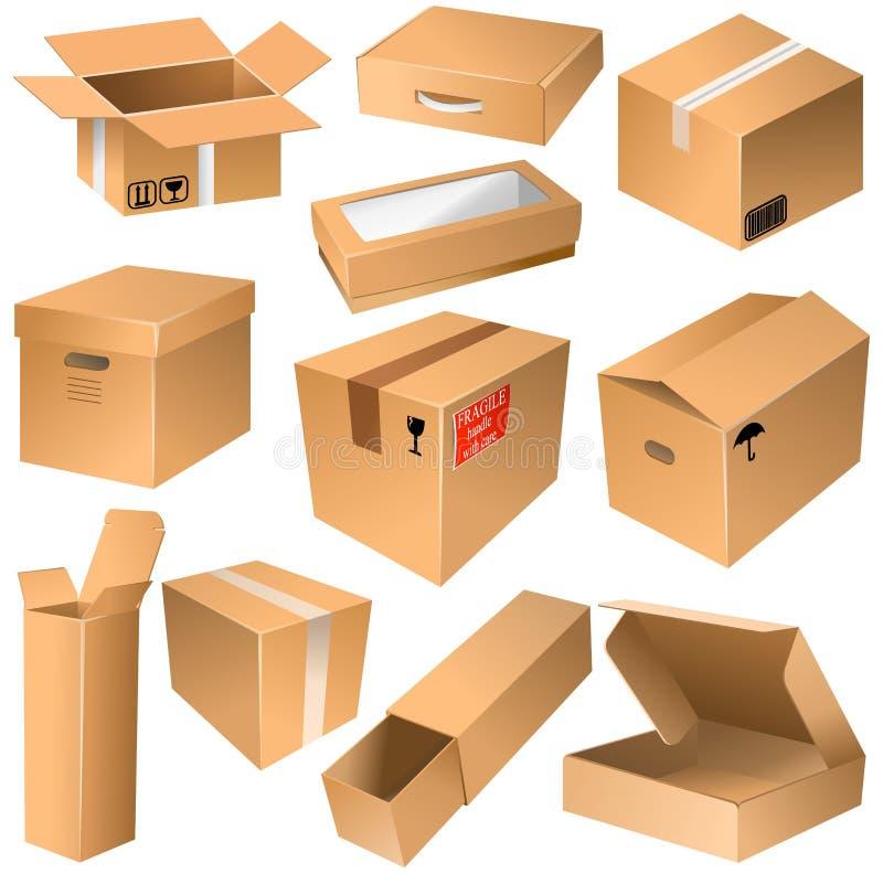 Diverses boîtes en carton de expédition ouvertes et fermées illustration de vecteur
