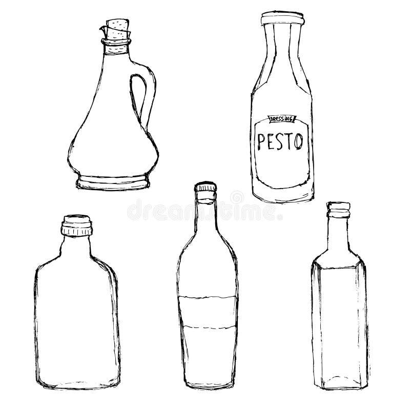 Diverses bouteilles en verre réglées Bouteille d'huile d'olive, pesto habillant la bouteille, bouteille de vin à la maison illustration libre de droits