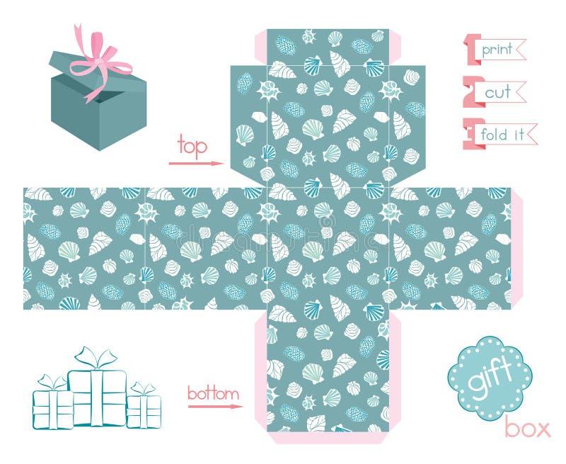 Diverses coquilles de boîte-cadeau imprimable illustration libre de droits