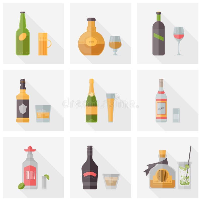Diverses icônes plates de boissons alcoolisées illustration stock