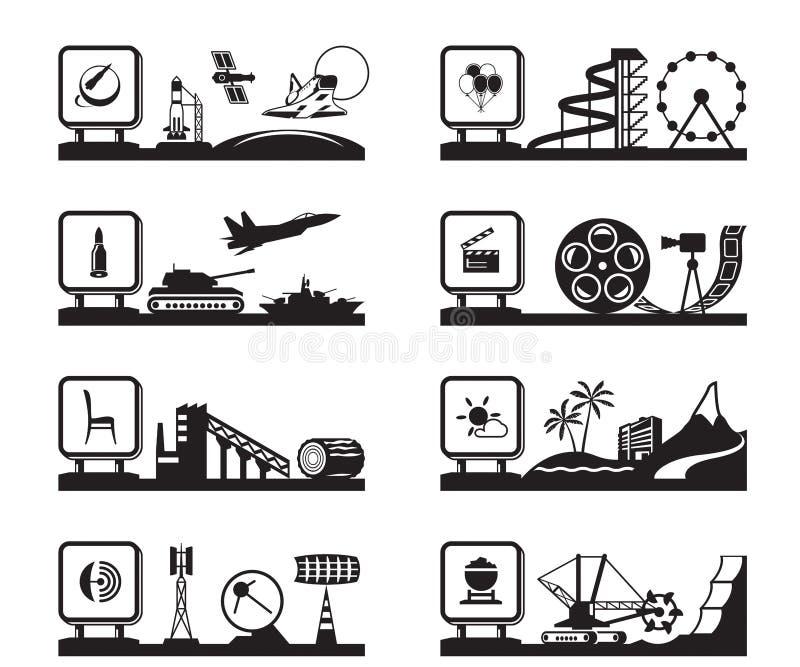 Diverses industries avec des logos illustration de vecteur