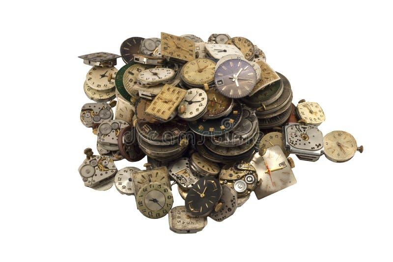 Diverses montres d'antiquité sur le blanc photos libres de droits