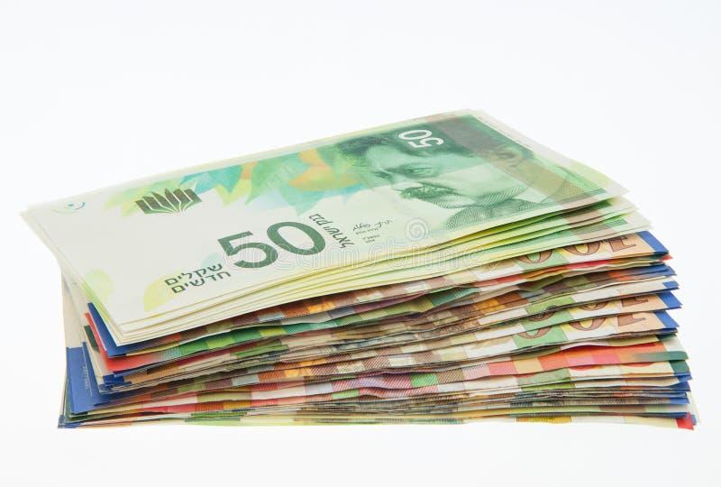 Diverses notes israéliennes de shekel avec la nouvelle note cinquante image stock