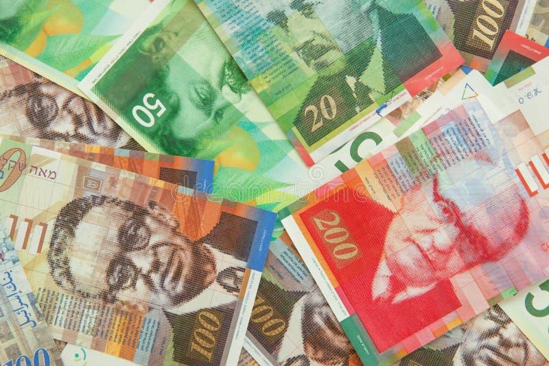 Diverses notes israéliennes de shekel avec la nouvelle note cinquante photographie stock libre de droits