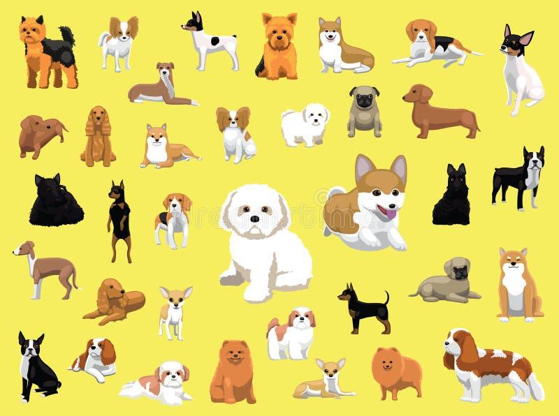 Diverses petites poses de races de chien illustration libre de droits