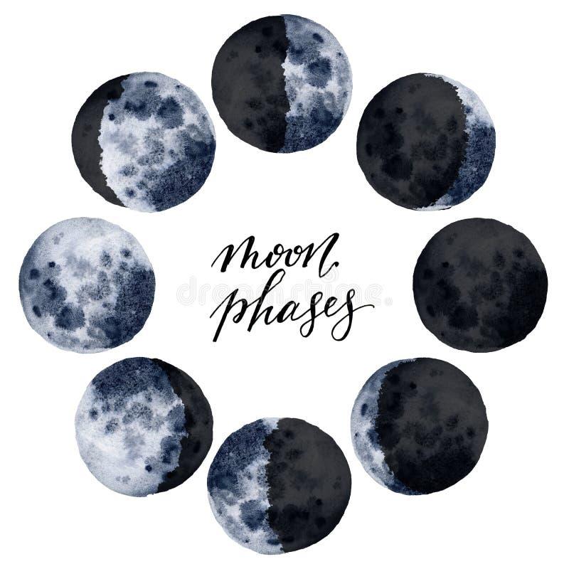 Diverses phases de lune d'aquarelle d'isolement sur le fond blanc Conception d'espace moderne tirée par la main pour la copie, ca images libres de droits