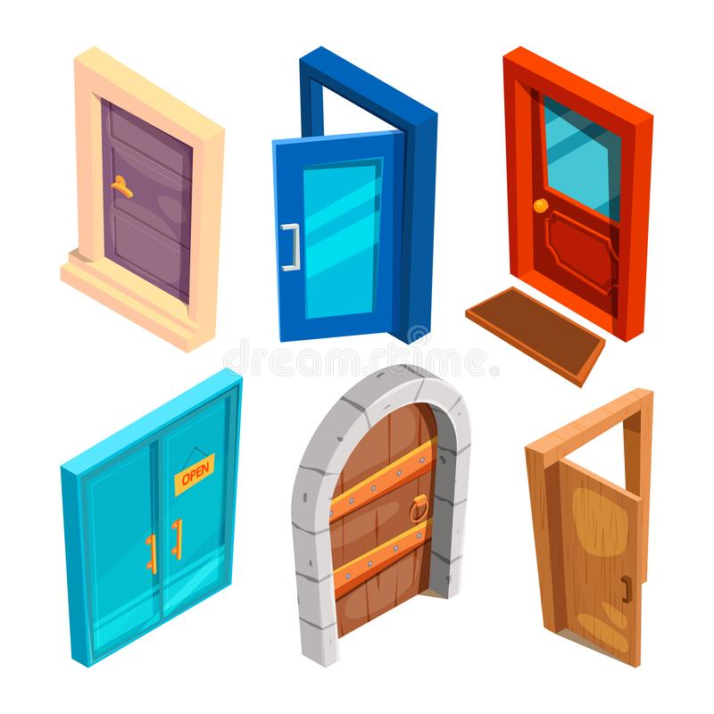 Diverses photos isométriques des portes de bande dessinée illustration stock