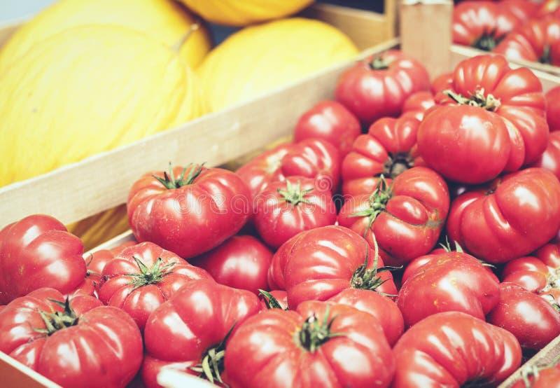 Diverses tomates colorées et fruits de légumes frais sur le marché, Catane, Sicile, Italie photos stock