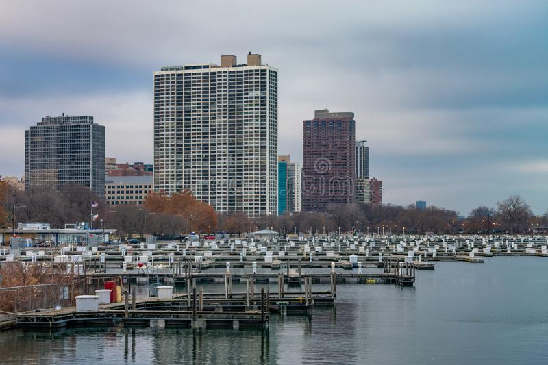 Diversey Harbor in Chicago with no Boats during Autumn stock photos