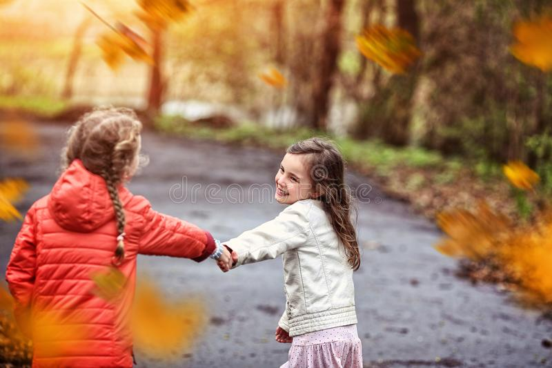 Diversión amistosa en el parque del otoño fotografía de archivo libre de regalías