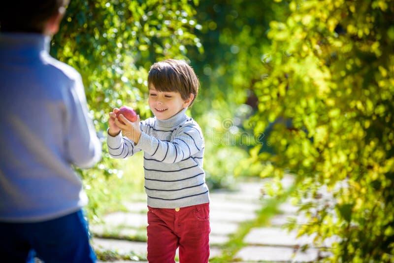 Diversión de la familia durante tiempo de cosecha en una granja Niños que juegan en otoño imagen de archivo libre de regalías