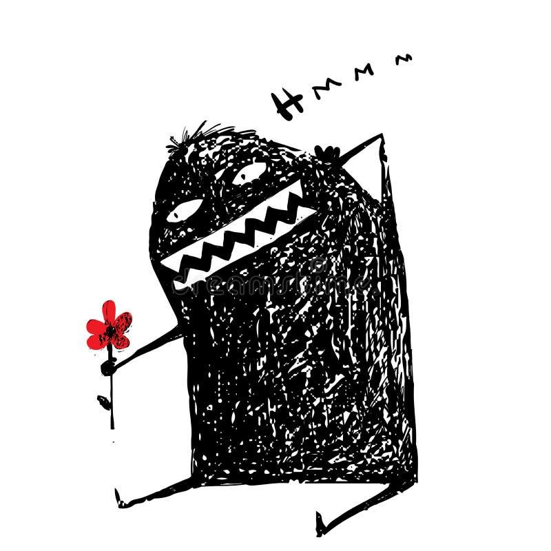 Diversión de la historieta amasing garabato feo del monstruo con la flor ilustración del vector