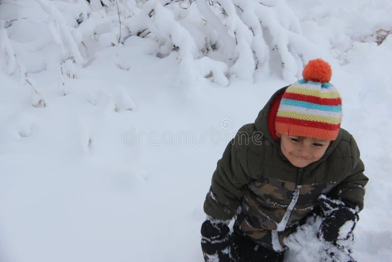 Diversión de la nieve del invierno en la pradera, fotos de archivo