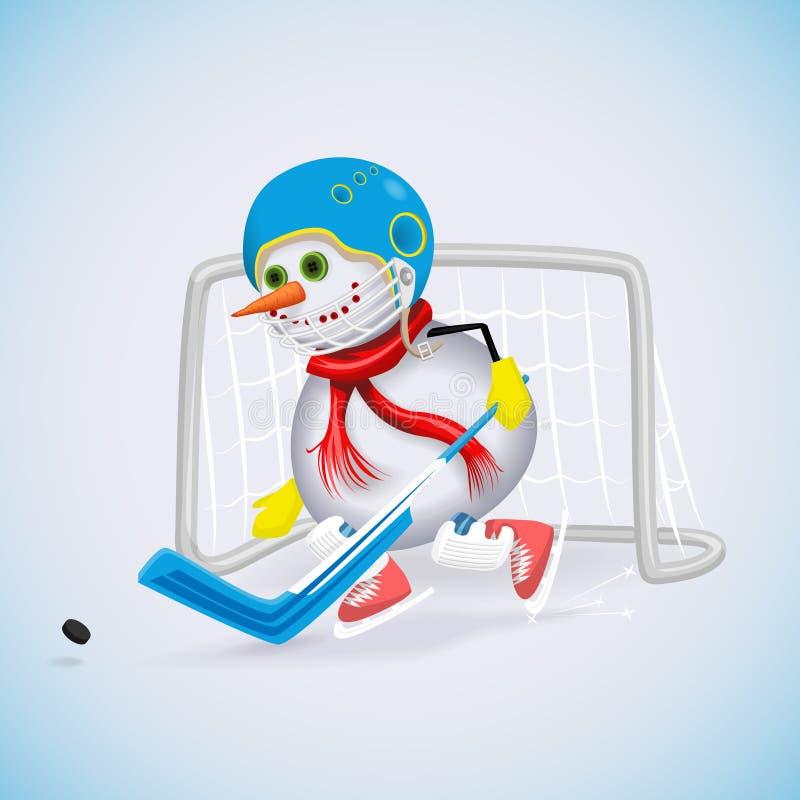 Diversión de las vacaciones de invierno Muñeco de nieve de la Navidad stock de ilustración
