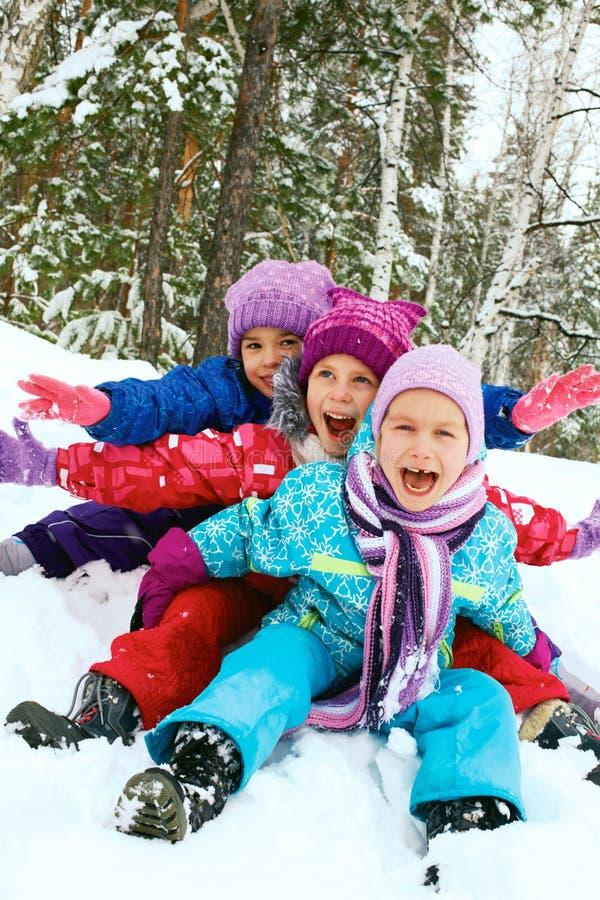 Diversión del invierno, niños felices sledding en invierno imágenes de archivo libres de regalías