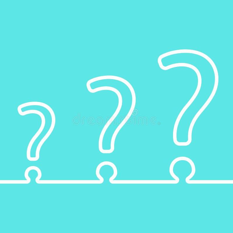 Diversión tres signos de interrogación en un icono del hilo ilustración del vector