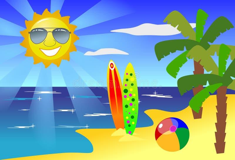 Diversión y Sun en la playa stock de ilustración