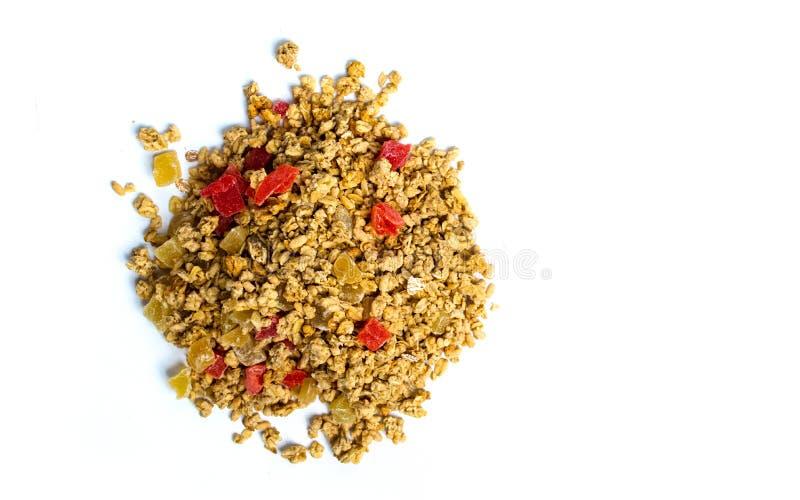 Diversi cereali e preparato del granola con frutta fotografia stock libera da diritti