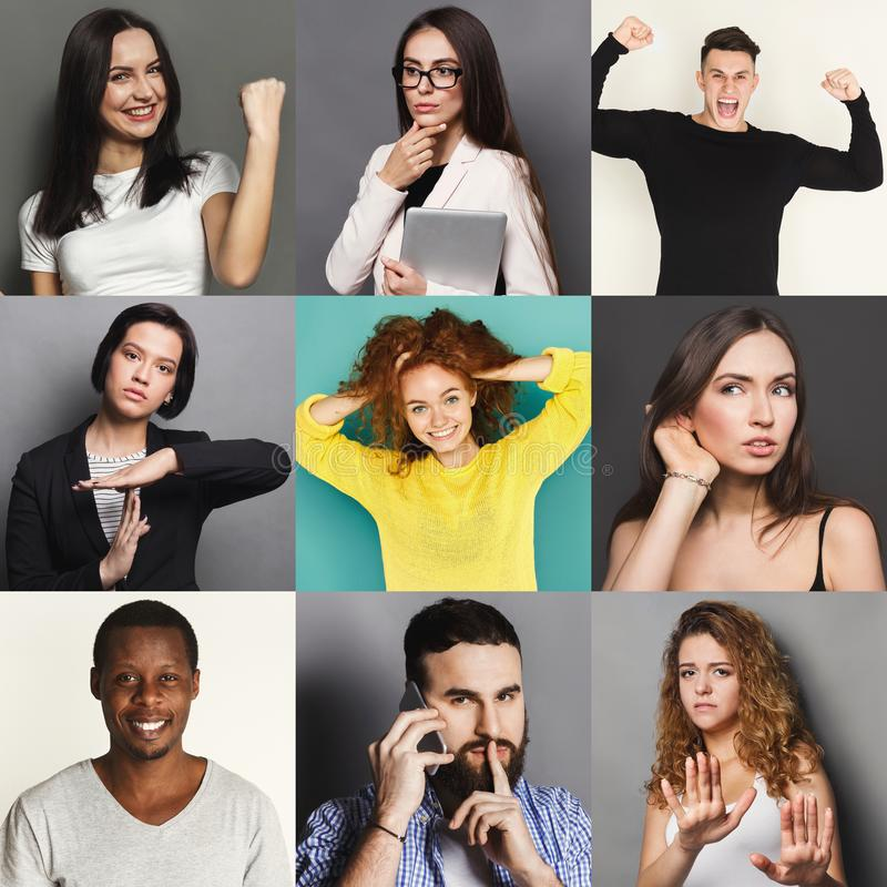 Diversi giovani positivi ed emozioni negative fissate fotografia stock