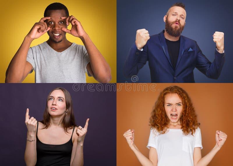 Diversi giovani positivi ed emozioni negative fissate immagine stock libera da diritti