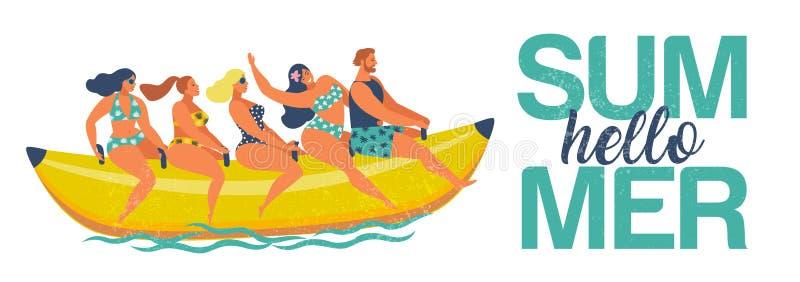Diversi?n del agua del verano El hombre y las mujeres montan en un barco de plátano Hola verano Ejemplo del vector de un dise?o p stock de ilustración