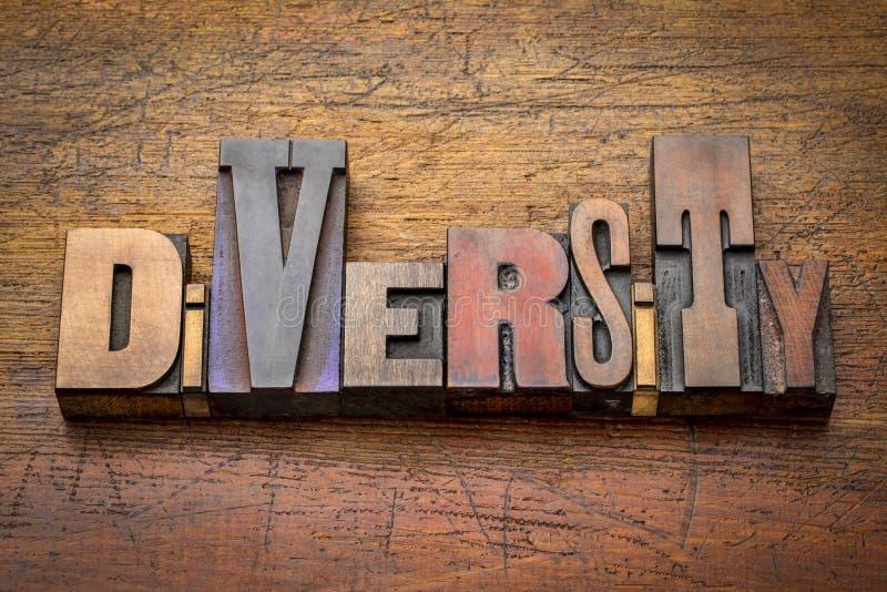 Diversidad - extracto de la palabra en el tipo de madera imagenes de archivo