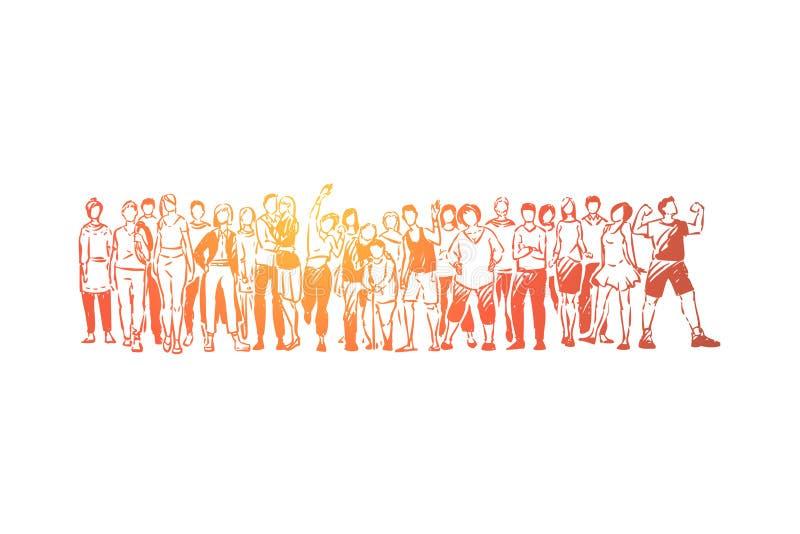 Diversidade de comunidade, jovens e pessoas adultas estando junto, homens e mulheres felizes na roupa ocasional que acena as mãos ilustração do vetor