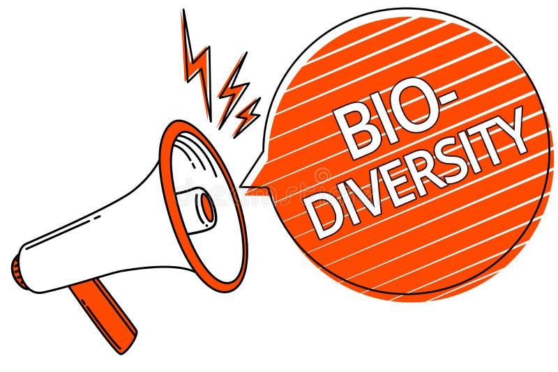 Diversidade do texto da escrita bio Variedade do significado do conceito de organismos Marine Fauna Ecosystem Habitat Megaphone d ilustração do vetor