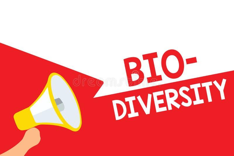 Diversidade do texto da escrita da palavra bio Conceito do negócio para a variedade de loudspeak de Marine Fauna Ecosystem Habita ilustração stock