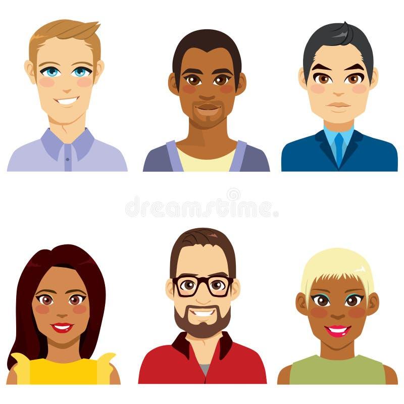 Diversidade dos povos do Avatar ilustração stock