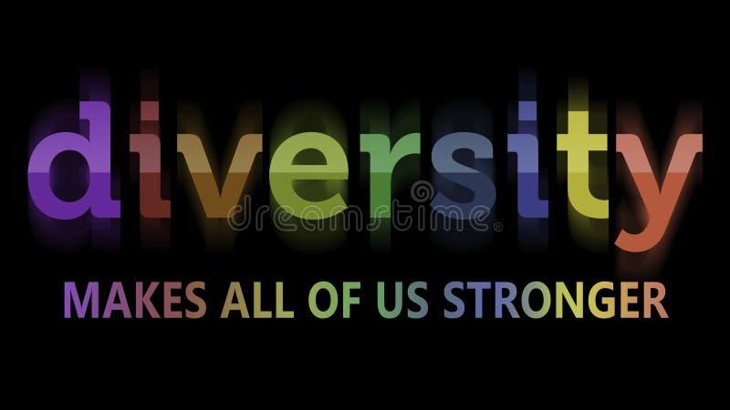 Diversidade em cores do arco-íris ilustração stock