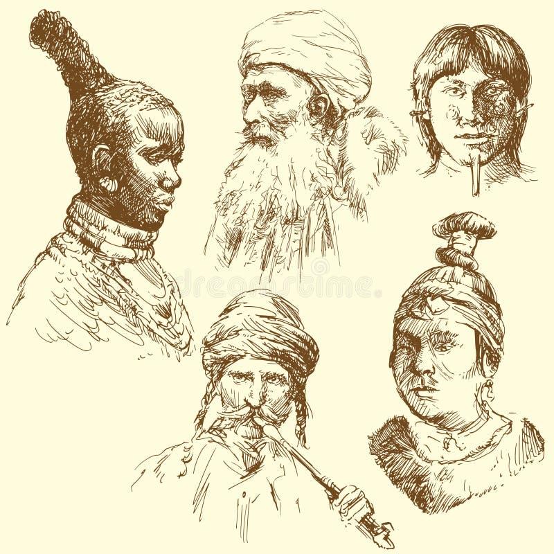 Diversidade humana, raças humanas ilustração royalty free