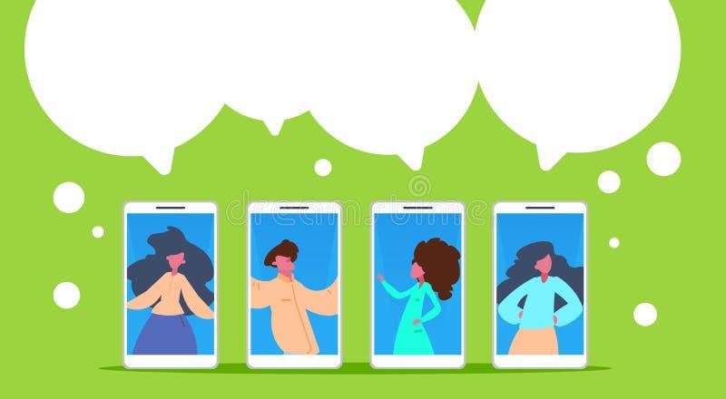 A diversidade móvel do retrato das bolhas do bate-papo da aplicação de uma comunicação da mulher do homem levanta o plano verde h ilustração royalty free