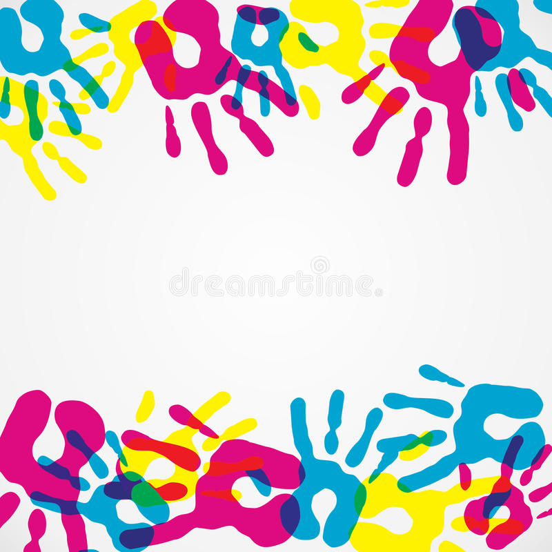 A diversidade Multicolor entrega o fundo ilustração stock