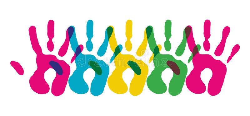 A diversidade Multicolor entrega o símbolo ilustração stock