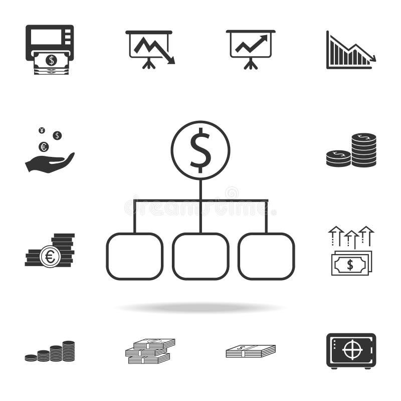 Diversificação de ativos financeiros, retorno do interesse, renda, ícone dos investimentos Grupo detalhado de elemento da finança ilustração royalty free