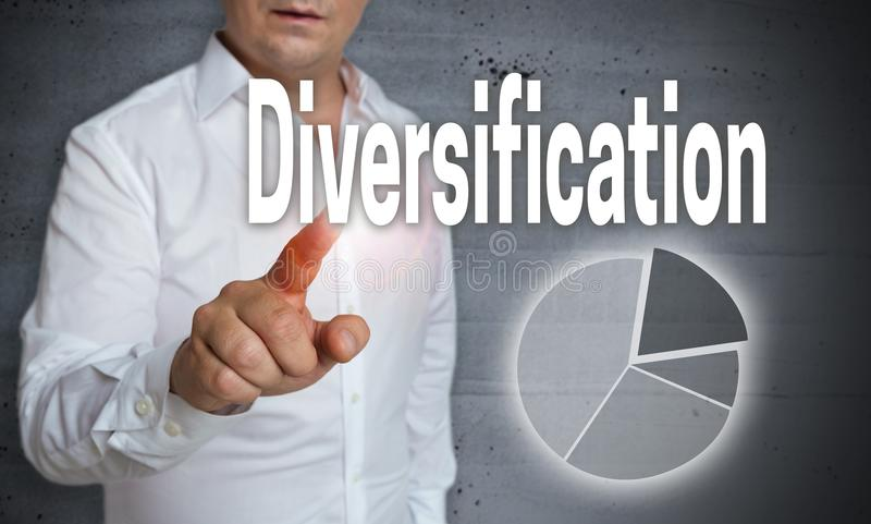 Diversification Icon touchscreen is operated by a man.  stock image